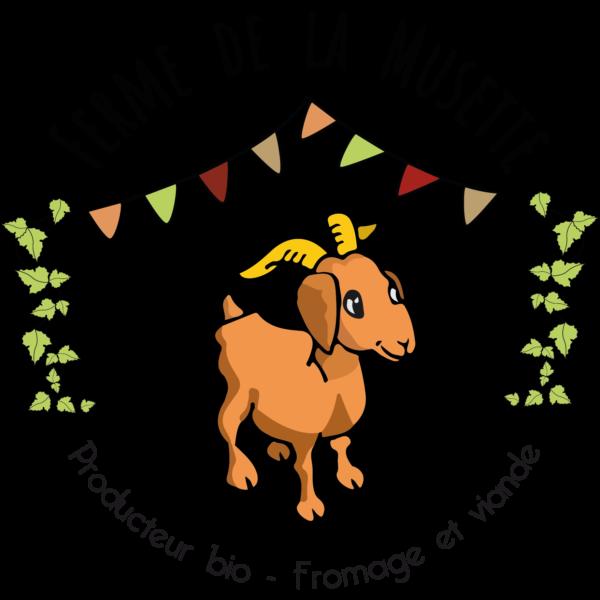 logo d'un chèvre, feuille de vigne et banderole