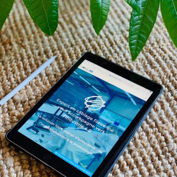 tablette tactile avec le site web inodex 3D, une plante verte en fond sur du jon de mer