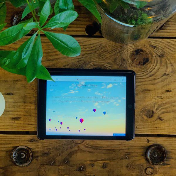 Tablette sur une table en bois avec des plantes